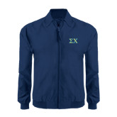 Navy Players Jacket-Sigma Chi Greek Letters