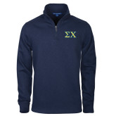 Navy Slub Fleece 1/4 Zip Pullover-Sigma Chi Greek Letters