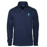 Navy Rib 1/4 Zip Pullover-Crest