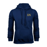 Navy Fleece Hood-Sigma Chi Greek Letters