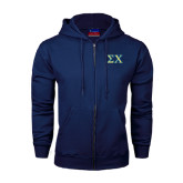 Navy Fleece Full Zip Hoodie-Sigma Chi Greek Letters
