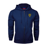 Navy Fleece Full Zip Hood-Badge
