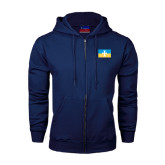Navy Fleece Full Zip Hoodie-Flag