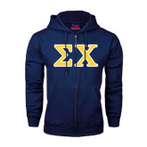 Navy Fleece Full Zip Hood-Greek Letters Tackle Twill