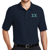 Navy Easycare Pique Polo-Sigma Chi Greek Letters