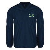 V Neck Navy Raglan Windshirt-Sigma Chi Greek Letters