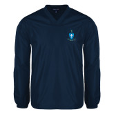 V Neck Navy Raglan Windshirt-Crest