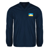 V Neck Navy Raglan Windshirt-Flag