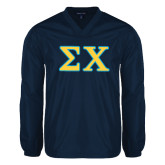 V Neck Navy Raglan Windshirt-Greek Letters Tackle Twill