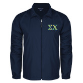 Full Zip Navy Wind Jacket-Sigma Chi Greek Letters