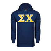 Under Armour Navy Performance Sweats Team Hood-Greek Letters Tackle Twill
