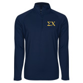 Sport Wick Stretch Navy 1/2 Zip Pullover-Sigma Chi Greek Letters