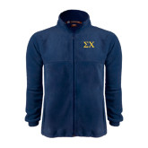 Fleece Full Zip Navy Jacket-Sigma Chi Greek Letters