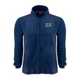 Fleece Full Zip Navy Jacket-Sigma Chi Greek Letters