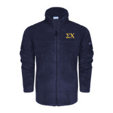 Columbia Full Zip Navy Fleece Jacket-Sigma Chi Greek Letters