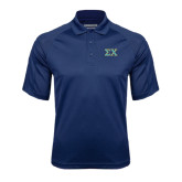 Navy Textured Saddle Shoulder Polo-Sigma Chi Greek Letters