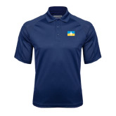 Navy Textured Saddle Shoulder Polo-Flag