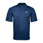 Navy Mini Stripe Polo-Sigma Chi Greek Letters