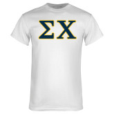 White T Shirt-Greek Letters Tackle Twill