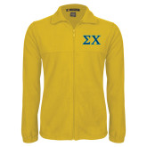 Fleece Full Zip Gold Jacket-Sigma Chi Greek Letters