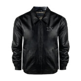 Black Leather Bomber Jacket-Sigma Chi Greek Letters