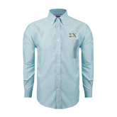 Mens Light Blue Oxford Long Sleeve Shirt-Sigma Chi Greek Letters
