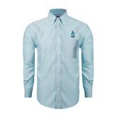 Mens Light Blue Oxford Long Sleeve Shirt-Crest