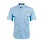 Light Blue Short Sleeve Performance Fishing Shirt-Sigma Chi Greek Letters