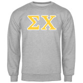 Grey Fleece Crew-Greek Letters Tackle Twill