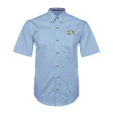 Light Blue Twill Button Down Short Sleeve-Sigma Chi Greek Letters