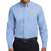 Light Blue Twill Button Down Long Sleeve-Sigma Chi Greek Letters