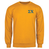 Gold Fleece Crew-Sigma Chi Greek Letters