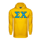 Under Armour Gold Performance Sweats Team Hood-Greek Letters Tackle Twill