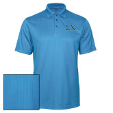 Light Blue Performance Fine Jacquard Polo-Sigma Chi Greek Letters