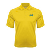 Gold Textured Saddle Shoulder Polo-Sigma Chi Greek Letters