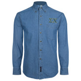 Denim Shirt Long Sleeve-Sigma Chi Greek Letters