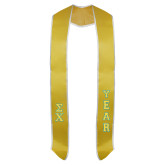 2016 Gold Graduation Stole w/White Trim-Small Greek Letters Tackle Twill Stacked