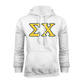 White Fleece Hoodie-Greek Letters Tackle Twill