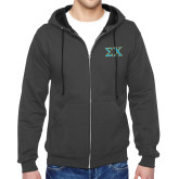 Charcoal Fleece Full Zip Hood-Sigma Chi Greek Letters