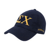 Navy Twill Unstructured Low Profile Hat-Sigma Chi Greek Letters