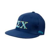 Navy OttoFlex Flat Bill Pro Style Hat-Sigma Chi Greek Letters