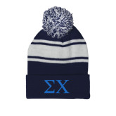 Navy/White Two Tone Knit Pom Beanie w/Cuff-Sigma Chi Greek Letters