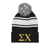Black/White Two Tone Knit Pom Beanie with Cuff-Sigma Chi Greek Letters
