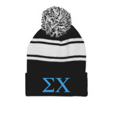 Black/White Two Tone Knit Pom Beanie w/Cuff-Sigma Chi Greek Letters