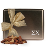 Deluxe Nut Medley Gold Large Tin-Sigma Chi Greek Letters Engraved