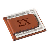 Cutter & Buck Chestnut Money Clip Card Case-Sigma Chi Greek Letters Engraved