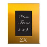 Gold Brushed Aluminum 3 x 5 Photo Frame-Sigma Chi Greek Letters Engraved