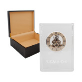 Grand Crystal Clock in Rosewood Box-Sigma Chi Engraved