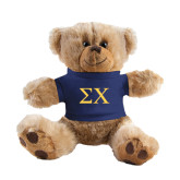 Plush Big Paw 8 1/2 inch Brown Bear w/Navy Shirt-Sigma Chi Greek Letters