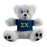 Plush Big Paw 8 1/2 inch White Bear w/Navy Shirt-Sigma Chi Greek Letters